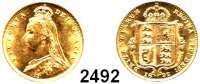 AUSLÄNDISCHE MÜNZEN,Großbritannien Viktoria 1837 - 1901 Half Sovereign 1892.  (3,66g fein).  Spink 3869.  Kahnt/Schön 132.  KM 766.  Fb. 393.  GOLD