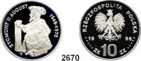 AUSLÄNDISCHE MÜNZEN,Polen Volksrepublik 10 Zlotych 1996.  August Sigismund II..  Fischer K 001.  Schön 317.  Y. 307.