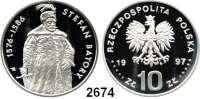 AUSLÄNDISCHE MÜNZEN,Polen Volksrepublik 10 Zlotych 1997.  Stefan Batory..  Fischer K 012.  Schön 332.  Y. 326.