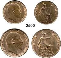 AUSLÄNDISCHE MÜNZEN,Großbritannien Edward VII. 1901 - 1910 Half Penny 1904 und Penny 1904.  Schön 282, 283.  KM 793, 794.  LOT 2 Stück.