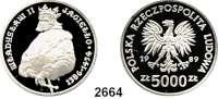AUSLÄNDISCHE MÜNZEN,Polen Volksrepublik 5000 Zlotych 1989.  Wladyslaw II. - Hüftbild.  Fischer K 062.  Schön 191.  KM 198.