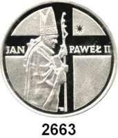 AUSLÄNDISCHE MÜNZEN,Polen Volksrepublik 10.000 Zlotych 1989.  Papst Johannes Paul II..  Fischer K 068.  Schön 200.  KM 237.