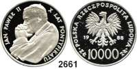 AUSLÄNDISCHE MÜNZEN,Polen Volksrepublik 10.000 Zlotych 1988.  Papst Johannes Paul II..  Fischer K 066.  Schön 177.  KM 177.