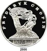 AUSLÄNDISCHE MÜNZEN,Polen Volksrepublik 200.000 Zlotych 1990 (5 Unzen).  Denkmal auf Fryderyk Chopin.  Fischer K 085.  Schön 215.  KM 202.  Mit Zertifikat.