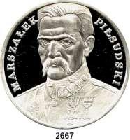 AUSLÄNDISCHE MÜNZEN,Polen Volksrepublik 200.000 Zlotych 1990 (5 Unzen).  Pilsudski.  Fischer K 086.  Schön 216.  KM 204.