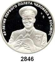 AUSLÄNDISCHE MÜNZEN,Russland Russische Föderation seit 19913 Rubel 2001.  Juri Gagarin - 40. Jahrestag des Raumfluges.  Parch. 1091.  Schön 689.  Y. 680.