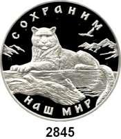 AUSLÄNDISCHE MÜNZEN,Russland Russische Föderation seit 19913 Rubel 2000.  Schneeleopard.  Parch. 1088.  Schön 665.  Y. 722.