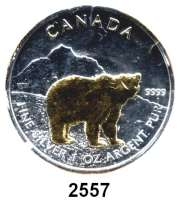 AUSLÄNDISCHE MÜNZEN,Kanada  5 Dollars 2011 (Silberunze, Bär vergoldet).  Graubär.  Schön 1043.  KM 1109.