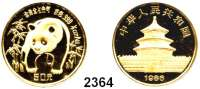 AUSLÄNDISCHE MÜNZEN,China Volksrepublik seit 1949 50 Yuan 1986.  (1/2 UNZE  15,55g fein).  Panda im Bambuswald.  Schön 123.  KM 134.  Fb. B 5.  Verschweißt.  GOLD
