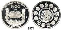 AUSLÄNDISCHE MÜNZEN,Mexiko  100 Pesos 1992.  Schiffe der Entdecker.  Schön 126.  KM 540.