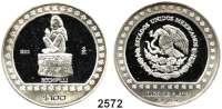 AUSLÄNDISCHE MÜNZEN,Mexiko  100 Pesos 1992.  Skulptur des Blumengottes Xochipilli.  Schön 136.  KM 562.