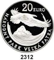 AUSLÄNDISCHE MÜNZEN,E U R O  -  P R Ä G U N G E N Slowakei 20 Euro 2009.  Slowakische Nationalparks - Fliegender Steinadler.  Schön 104.  KM 109.  Im Originaletui mit Zertifikat.