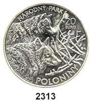 AUSLÄNDISCHE MÜNZEN,E U R O  -  P R Ä G U N G E N Slowakei 20 Euro 2010.  Slowakische Nationalparks - Wölfe.  Schön 108.  KM 112.