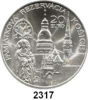 AUSLÄNDISCHE MÜNZEN,E U R O  -  P R Ä G U N G E N Slowakei 20 Euro 2013.  Kulturhauptstadt Kosice.  KM 129.