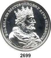 AUSLÄNDISCHE MÜNZEN,Polen  50 Zlotych 2013 (2 Unzen Silber).  Boleslaw I. - Erster König von Polen.  Fischer K 001.  Y. 850.  Im Originaletui mit Zertifikat.