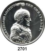 AUSLÄNDISCHE MÜNZEN,Polen  50 Zlotych 2013 (2 Unzen Silber).  Wladyslaw I..  Fischer K 003.  Y. 867.  Im Originaletui mit Zertifikat.