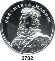 AUSLÄNDISCHE MÜNZEN,Polen  50 Zlotych 2014 (2 Unzen Silber).  Kasimir der Große.  Fischer K 004.  Y. 898.  Im Originaletui mit Zertifikat.