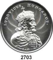 AUSLÄNDISCHE MÜNZEN,Polen  50  Zlotych 2014 (2 Unzen Silber).  Ludwig der Große.  Fischer K 005.  Y. 907.  Im Originaletui mit Zertifikat.