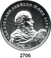 AUSLÄNDISCHE MÜNZEN,Polen  50  Zlotych 2015 (2 Unzen Silber).  Wladyslaw II. Jagiello.  Fischer K 007.  Y. 943.  Im Originaletui mit Zertifikat.