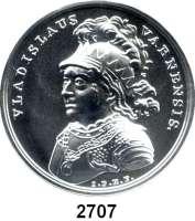 AUSLÄNDISCHE MÜNZEN,Polen  50  Zlotych 2015 (2 Unzen Silber).  Wladyslaw III. von Warna.  Fischer K 008.  Y. 934.  Im Originaletui mit Zertifikat.