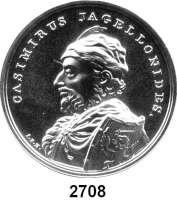 AUSLÄNDISCHE MÜNZEN,Polen  50  Zlotych 2015 (2 Unzen Silber).  Kasimir IV. Andreas.  Fischer K 009.  Y. 944.  Im Originaletui mit Zertifikat.