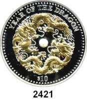 AUSLÄNDISCHE MÜNZEN,Fidschi  10 Dollars 2012.  Jahr des Drachen, Motiv teilvergoldet, mittig eine Perle.  KM 230.  Im Originaletui mit Zertifikat.