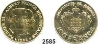 AUSLÄNDISCHE MÜNZEN,Monaco Rainier 1949 - 2005 100 Francs 1982 ESSAI (24,7g. fein).  Fürst Rainer III. und Prinz Albert.  Schön 39.  KM 161.  Im Etui mit Zertifikat.  GOLD