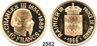 AUSLÄNDISCHE MÜNZEN,Monaco Rainier III. 1949 - 2005 10 Francs 1966 ESSAI (39,05g. fein).  Charles III..  Schön 27.  KM E 57.  Im Originaletui.  GOLD