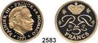 AUSLÄNDISCHE MÜNZEN,Monaco Rainier 1949 - 2005 5 Francs 1971 Piedfort-Prägung (35,78g. fein).  Fürst Rainer III..  Schön 26.  KM PE 17a.  Im Originaletui mit Zertifikat.  GOLD