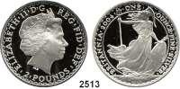 AUSLÄNDISCHE MÜNZEN,Großbritannien Elisabeth II. 1952 - 2 Pfund 2004 (Silberunze).  Britannia.  Schön 498.  KM 1029.  Im Originaletui mit Zertifikat.