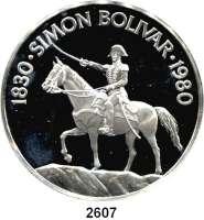 AUSLÄNDISCHE MÜNZEN,Panama  20 Balboa 1980.  Bolivar zu Pferd.  Schön 66.  KM 65.  Im Originaletui mit Zertifikat.