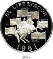 AUSLÄNDISCHE MÜNZEN,Panama  20 Balboa 1981.  Bolivar zu Pferd umgeben von Flaggen.  Schön 71.  KM 71.  Im Originaletui mit Zertifikat.