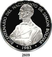 AUSLÄNDISCHE MÜNZEN,Panama  20 Balboa 1983.  Porträt von Bolivar.  Schön 92.  KM 93.  Im Originaletui mit Zertifikat.