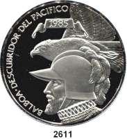 AUSLÄNDISCHE MÜNZEN,Panama  20 Balboa 1985.  Balboa mit Adler.  Schön 103.  KM 105.  Im Originaletui mit Zertifikat.
