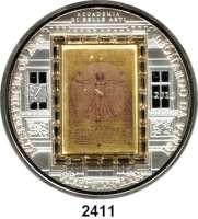 AUSLÄNDISCHE MÜNZEN,Cook Islands  20  Dollars mit aufgeklebten Swarovski-Kristallen 2010.  Meisterwerke der Kunst -  Motiv auf Goldbarren (7,75g. fein)
