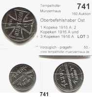 Besetzte Gebiete  -  Kolonien  -  Danzig,Oberbefehlshaber Ost  1 Kopeke 1916 A; 2 Kopeken 1916 A und  3 Kopeken 1916 A.  LOT 3 Stück