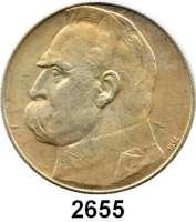 AUSLÄNDISCHE MÜNZEN,Polen Republik 1919 - 1939 5 und 10 Zlotych 1934.  Pilsudski.  Fischer OB 016 und 022.  Schön 24 und 25.  Y. 25 und 26.  LOT 2 Stück.
