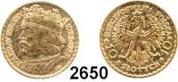 AUSLÄNDISCHE MÜNZEN,Polen Republik 1919 - 1939 10 Zlotych 1925, Warschau  (2,9g fein).  Boleslaw I.  Fischer OB 024.  Schön 14.  Y. 32.  Fb. 116. GOLD.