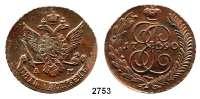 AUSLÄNDISCHE MÜNZEN,Russland Katharina II. 1762 - 1796 Kupfer - 5 Kopeken 1790 AM, Annensk.  Bitkin 860.  Cr. 59.2.