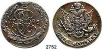 AUSLÄNDISCHE MÜNZEN,Russland Katharina II. 1762 - 1796 Kupfer - 5 Kopeken 1785 KM, Suzun (Kolyvan).  Bitkin 789.  Cr. 59.5.