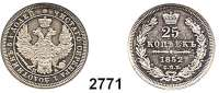 AUSLÄNDISCHE MÜNZEN,Russland Nikolaus I. 1825 - 1855 25 Kopeken 1852, St. Petersburg.  Bitkin 304.  Cr. 165.