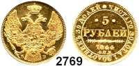 AUSLÄNDISCHE MÜNZEN,Russland Nikolaus I. 1825 - 1855 5 Rubel 1844, St. Petersburg.  (6g fein).  Bitkin 24.  Cr. 175.1.  Fb. 155.  GOLD