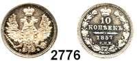 AUSLÄNDISCHE MÜNZEN,Russland Alexander II. 1855 - 1881 10 Kopeken 1857, St. Petersburg.  Bitkin 64.   Cr. 164.1.