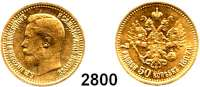 AUSLÄNDISCHE MÜNZEN,Russland Nikolaus II. 1894 - 1917 7 1/2 Rubel 1897, St. Petersburg.  (5,8g fein).  Bitkin 17.  Schön 15.  Y 63.  Fb. 178.  GOLD