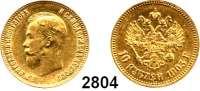 AUSLÄNDISCHE MÜNZEN,Russland Nikolaus II. 1894 - 1917 10 Rubel 1903  (7,74g fein).  Bitkin 11.  Schön 16.  Y 64.  Fb. 179.  GOLD