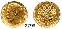 AUSLÄNDISCHE MÜNZEN,Russland Nikolaus II. 1894 - 1917 15 Rubel 1897, Sankt Petersburg.  (11,61g fein).  Drei Buchstaben unter dem Halsabschnitt.  Bitkin 2.  Schön 17.  Y 65.  Fb. 177.  GOLD.