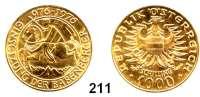 Österreich - Ungarn,Österreich 2. Republik ab 19451000 Schilling 1976 (13,15g fein).  Babenberger.  Schön 127.  KM 2933.  Fb. 909.  GOLD
