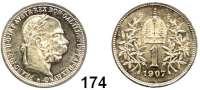 Österreich - Ungarn,Habsburg - Lothringen Franz Josef I. 1848 - 19161 Krone 1907.  Frühwald 1980.  Schön 7.  KM 2804.
