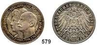 R E I C H S M Ü N Z E N,Anhalt, Herzogtum Friedrich II. 1904 - 1918 3 Mark 1914.   Silberhochzeit.