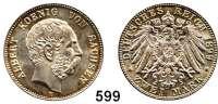R E I C H S M Ü N Z E N,Sachsen, Königreich Albert 1873 - 1902 2 Mark 1899.